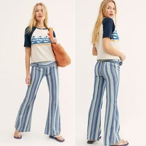 Free People Journey Strip Flare Jeans NWOT